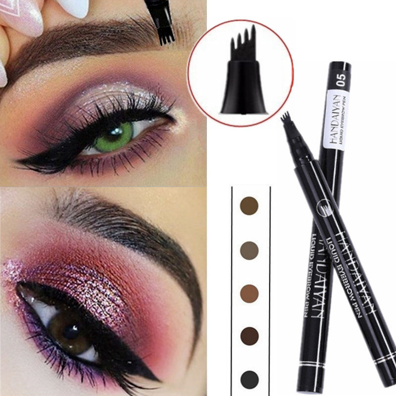 5 Color Microblading Eyebrow Pencil Waterproof Fork Tip Tattoo Pen Tinted Fine Sketch Eye Brow Pencils Long Lasting Eyebrows(China)