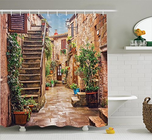 Memory Home Italian City Rural View Shower Curtain Waterproof Mildewproof Polyester Fabric Bath Bathroom Product