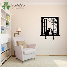 Removable Cats looking through Window Silhouette Wall Decal Vinyl Art Stickers for Homes Living Room DIY Decor Mural NY-75 icover cats silhouette ip5 dem sl11 white