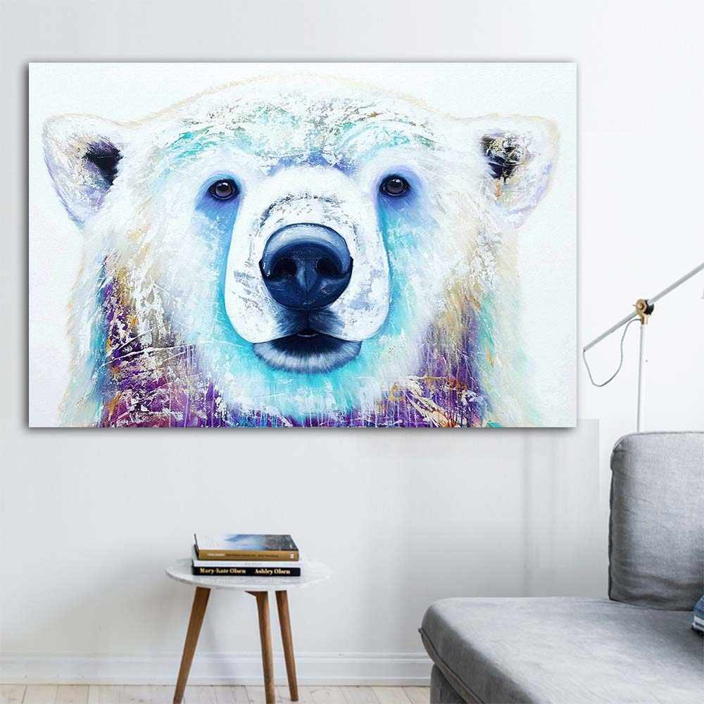 WANGART Canvas Print Pictures Posters Decorative Wall White Bear Animal Oil Painting Wall Picture For Living Room Home Art