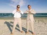 Custom Made Beige Linen Suit Summer Beach Casual Wedding Suits For Men Best Man Groom Evening Party Prom Blazers 2 Pieces