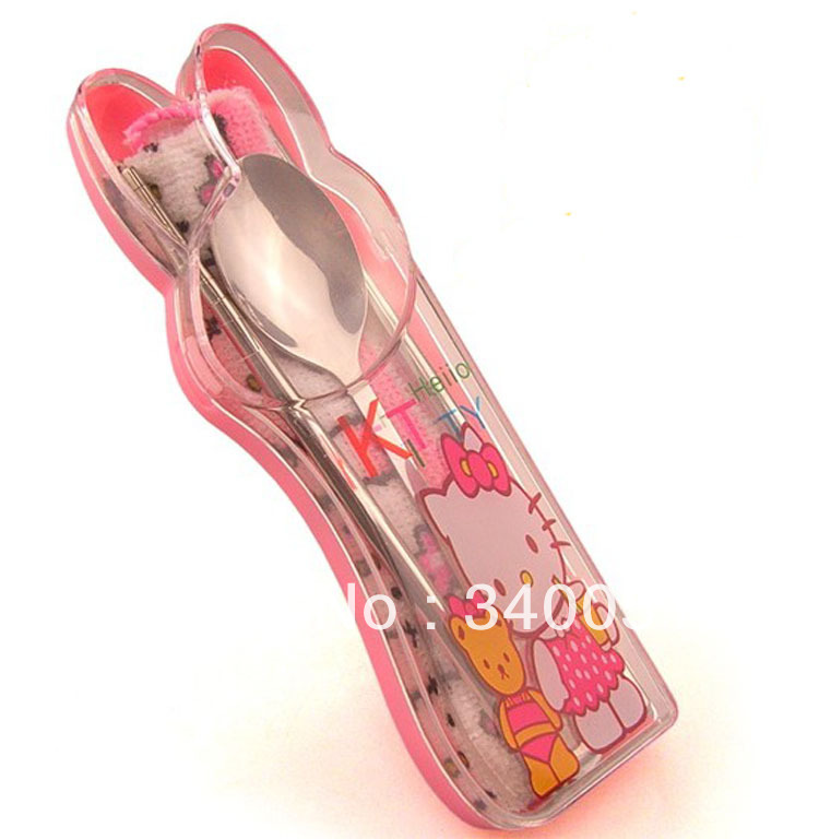 Hello Kitty stainless steel baby Chopsticks and spoon Portable metal tableware Set for children