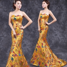 New China Long Qipao sexy Wedding Dress oriental qipao gown Chinese style vestido traditional clothing trailing cheongsam