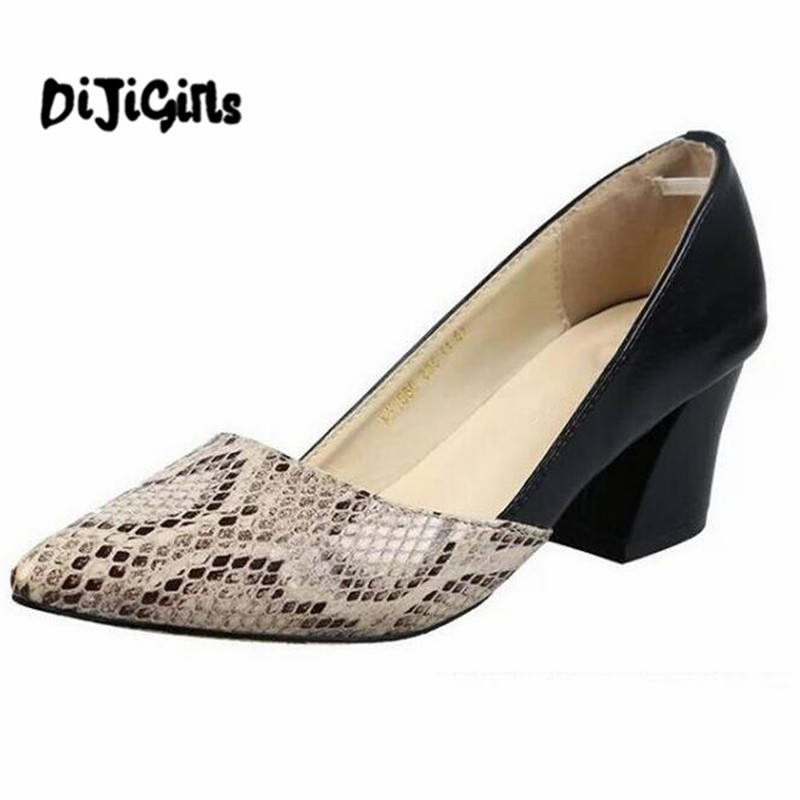 spring Zapatos Mujer chunky high heels office ladies pointed toe pumps women shoes woman party Snakeskin Pattern choudory high heels woman pumps spring autumn flower decoration woman shoes attractive flock pointed toe party zapatos mujer