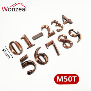50mm 012345678-9 ABS Plastic Red Copper Modern Door Address Plaque Number House Hotel Digits Sticker Plate Sign Number