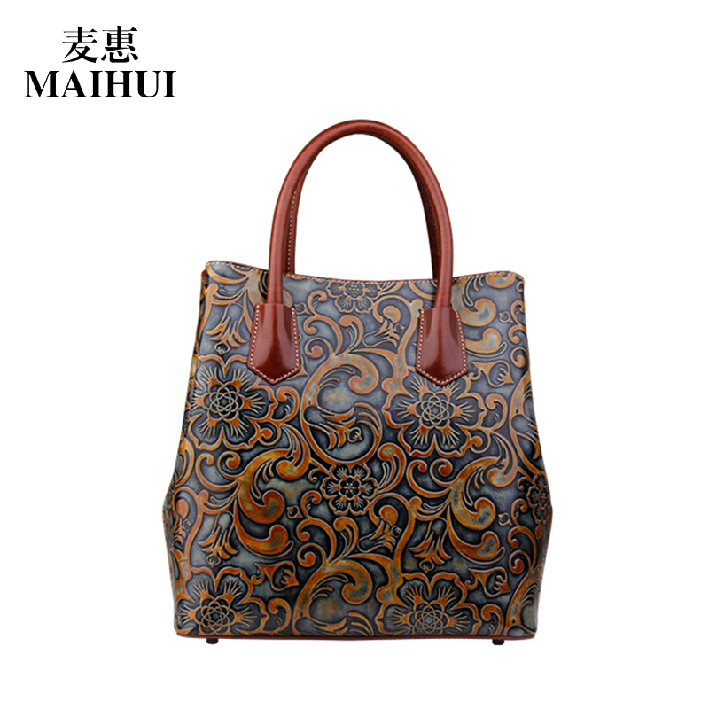 MAIHUI women leather handbags high quality shoulder bags chinese style real cow genuine leather bag ladies embossing flower bags