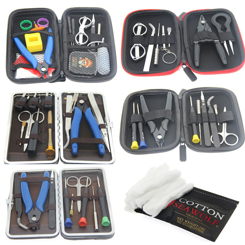Upgrade Mini Vape DIY Tool Bag VAPE Cotton Tweezers Pliers Wire Heaters Kit Coil Jig Winding For Packing E-Cigarette Accessories