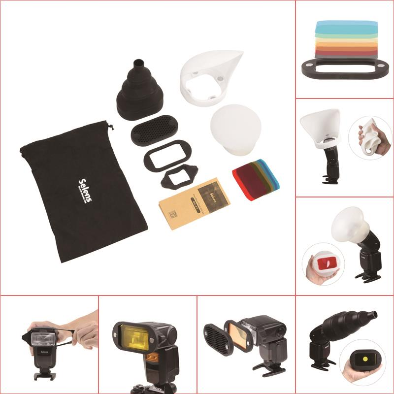 1Set new Honeycomb Gridx Shelf Filter Rubber Band Light Sphere Bounce Snoot Carrying Bag FOR flash