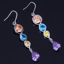 Angelic Water Drop Multigem Multicolor Brown Cubic Zirconia 925 Sterling Silver Dangle Earrings For Women V0212
