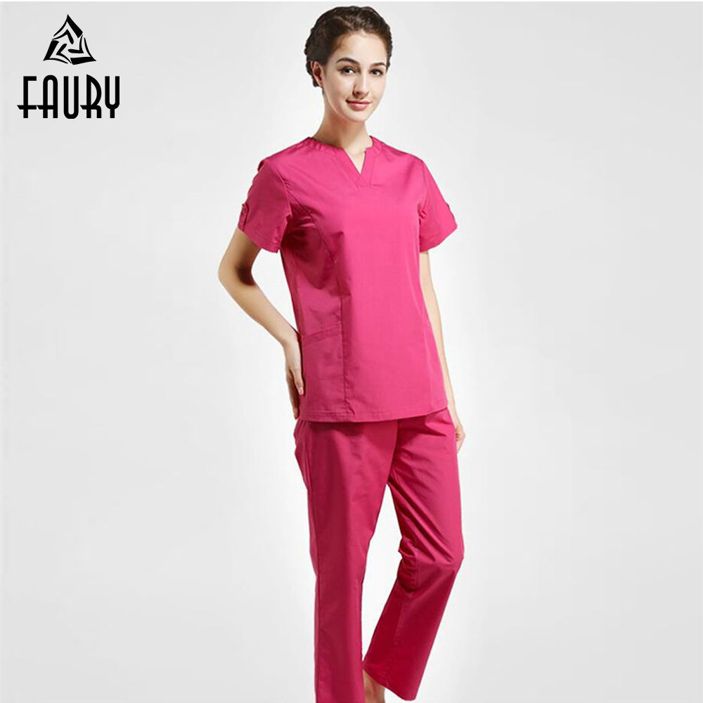 New Nurse Uniforms Women Medical Scrub Sets Clothing Short Sleeves Surgical Gowns Dental Beauty Oral Pet Doctor Fmale Split Suit