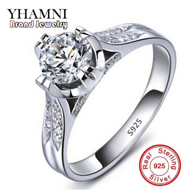 Luxury 100 Pure Silver Wedding Rings For Women Set Sona Cz Cubic Zirconia Engagement