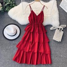 f20d43604e Neploe 2019 nowy lato dekolt w kształcie litery v kobiet Vestido-line  solidna Lace Up sukienki szyfonu bez rękawów wysokiej tali.