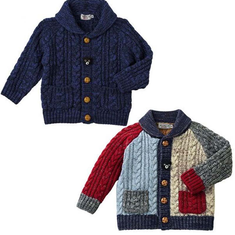 ФОТО BBK INS children's sweaters boys 55% wool knitted cardigan Thick warm jacket girl Bear sweater Spell color Long sleeves coat C*