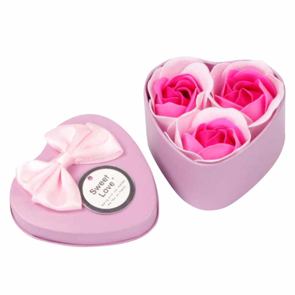 2018 3Pcs  beautiful Heart Scented Bath Body Petal Rose Flower Soap Wedding Decoration Best  Gift #0116