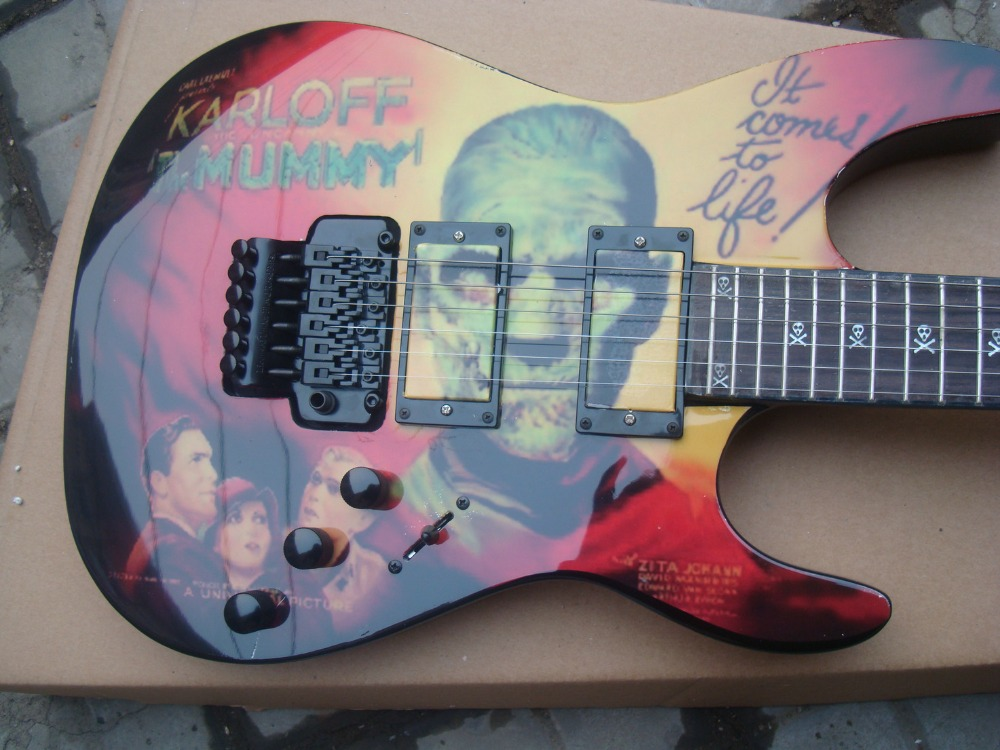 new E S P Karloff Mummy paint job LTD M-200FM guitar KH2 Kirk Hammett Metallica ART painting custom shop Floyd Rose Tremolo bar электрогитара ltd james hetfield snakebyte metallica