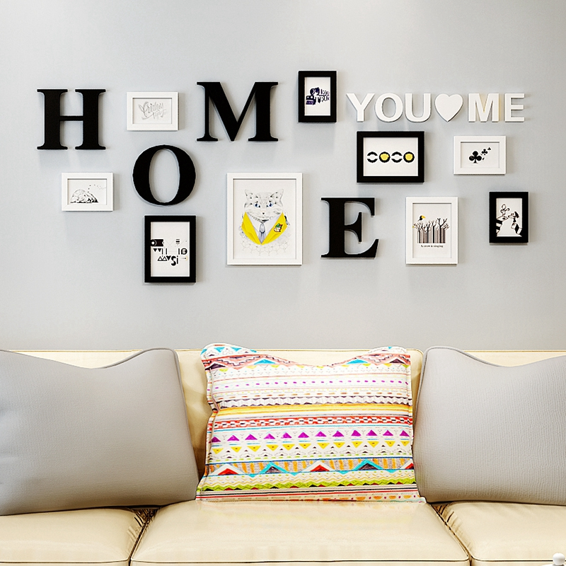 9 pcs set Black White Frame With Letters DIY Creative Wall Photo Frame For Home Decor