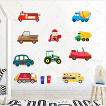 ФОТО cartoon 3d trucks tractors cars color wall sticker for kids play room decoration pvc wall decals art poster wallpaper home decor