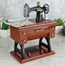 Imitation Wood Vintage and Retro Standing Sewing Machine Music Box Romantic Sky City Music Box Exquisite Plastic Crafts