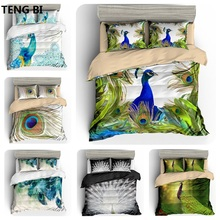 New fashion simple style home textile digital printing peacock pattern bedding set US Australia EU country size 3PCS