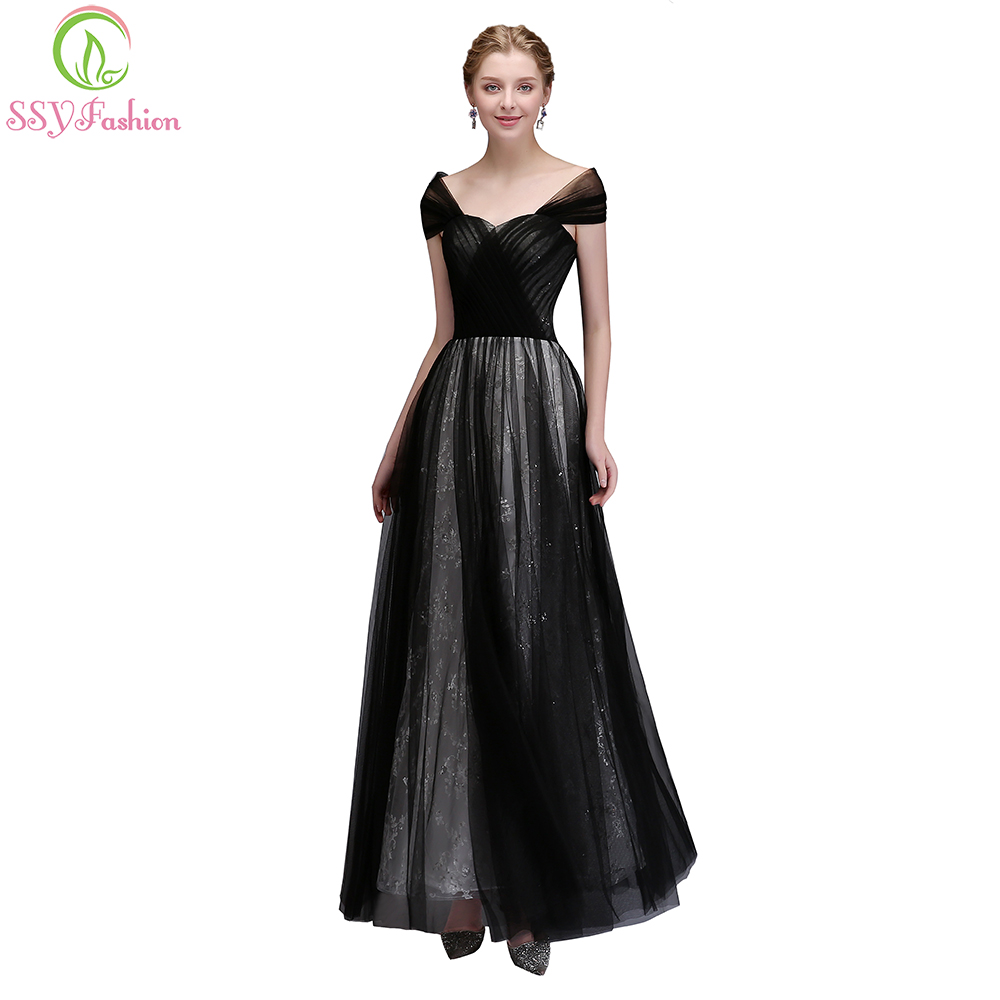 SSYFashion New Simple Evening Dress The Brdie Banquet Elegant Floor ... e442de091e8c