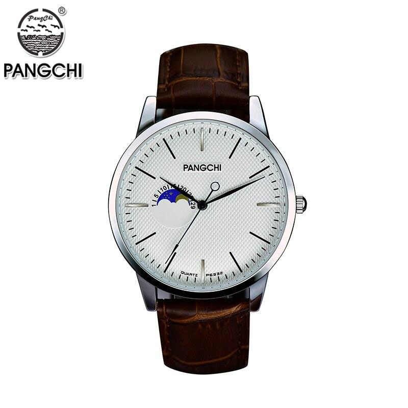 PANGCHI Brand Men Woman Watch Waterproof Quartz Big Dial Wristwatches Casual Fashion Leather Watches Relojes Relogio Masculino