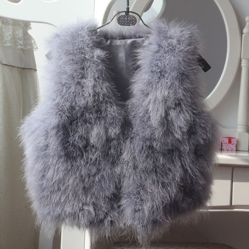 2017 autumn and winter new ostrich hair short fashion temperament fur vest coat