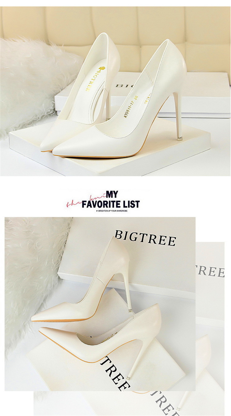 BIGTREE Soft Leather Shallow Fashion Women's High Heels Shoes Candy Colors Pointed Toe Women Pumps Show Thin Female Office Shoe 19