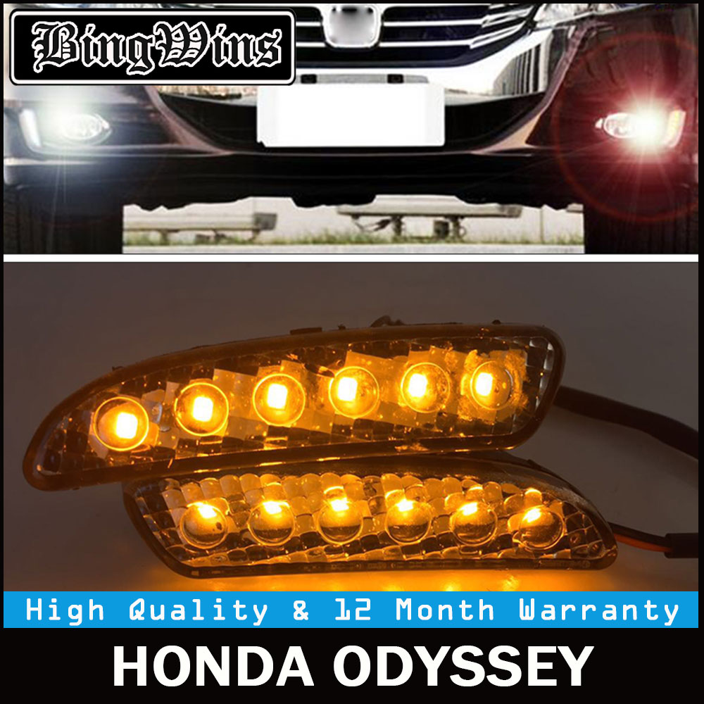 2Pcs Car LED DRL Kit For Honda Odyssey 2010-2013 DRL Fog Lamp Cover Daytime Running Lights with turn signal 12V Daylight 6 LED