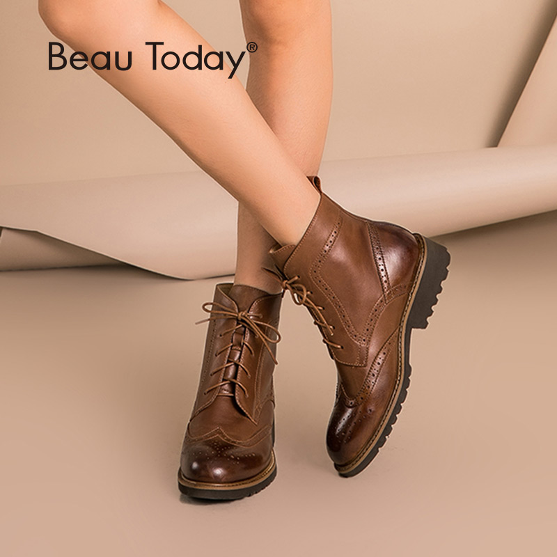BeauToday/женские ботинки с перфорацией типа «броги», осенне-зимние ботинки из натуральной воловьей кожи на шнуровке, женская обувь ручной рабо...