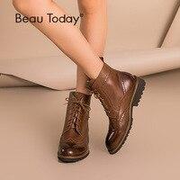 BeauToday/женские ботинки с перфорацией типа «броги», осенне зимние ботинки из натуральной воловьей кожи на шнуровке, женская обувь ручной рабо