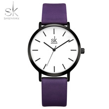 Shengke Purple Ladies Watch Women Leather Watches Luxury Brand Quartz Watch Analog Wristwatch Creative Design Relogio Feminino brand julius women watches ultra thin leather strap watch band analog display quartz wristwatch luxury watches relogio feminino