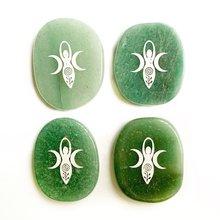 Натуральный зеленый авантюрин хрустальные пальмовые камни резной