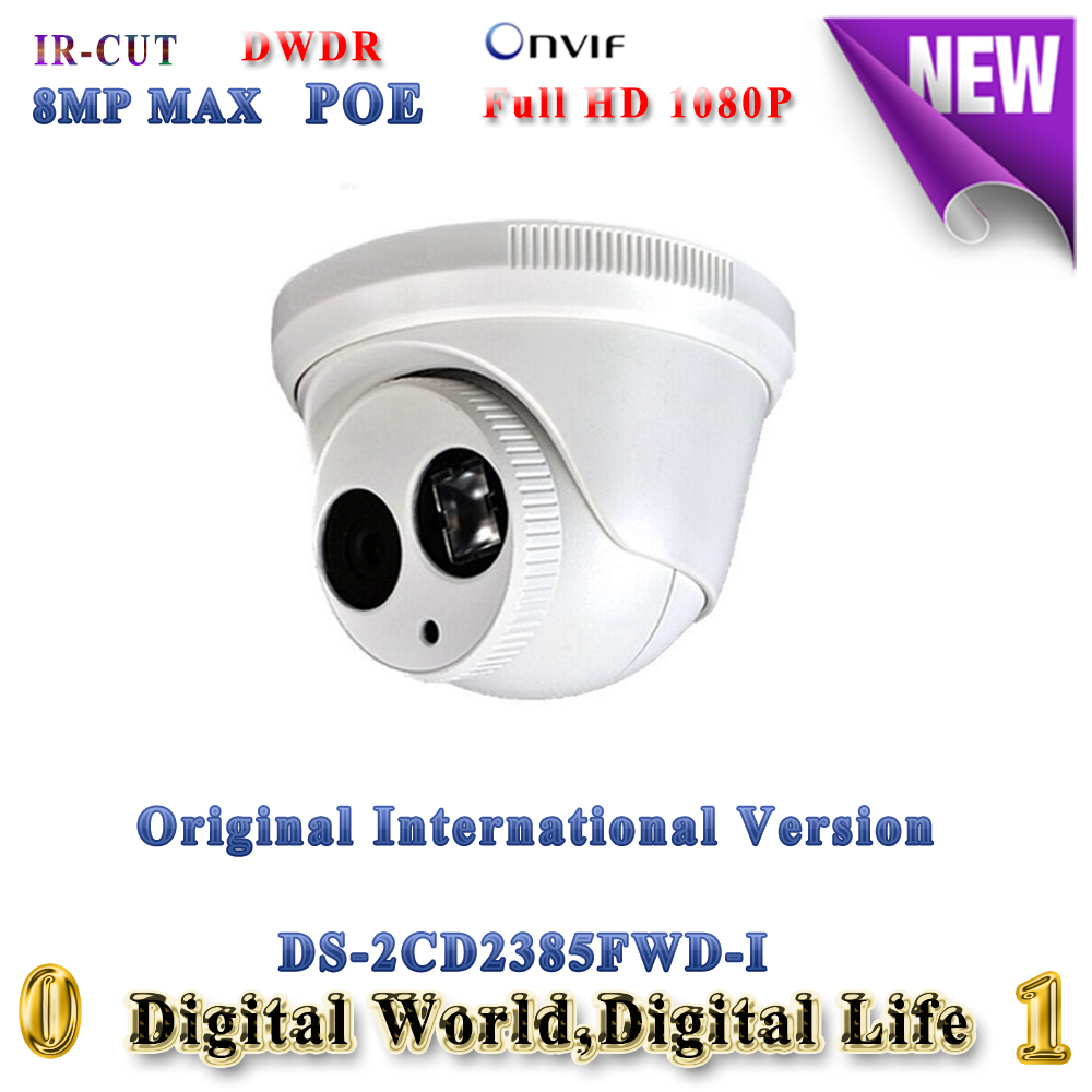 English version DS-2CD2385FWD-I 8MP full HD mini network turret ip camera support onvif POE 30M IR IP67 H.265 dome CCTV camera