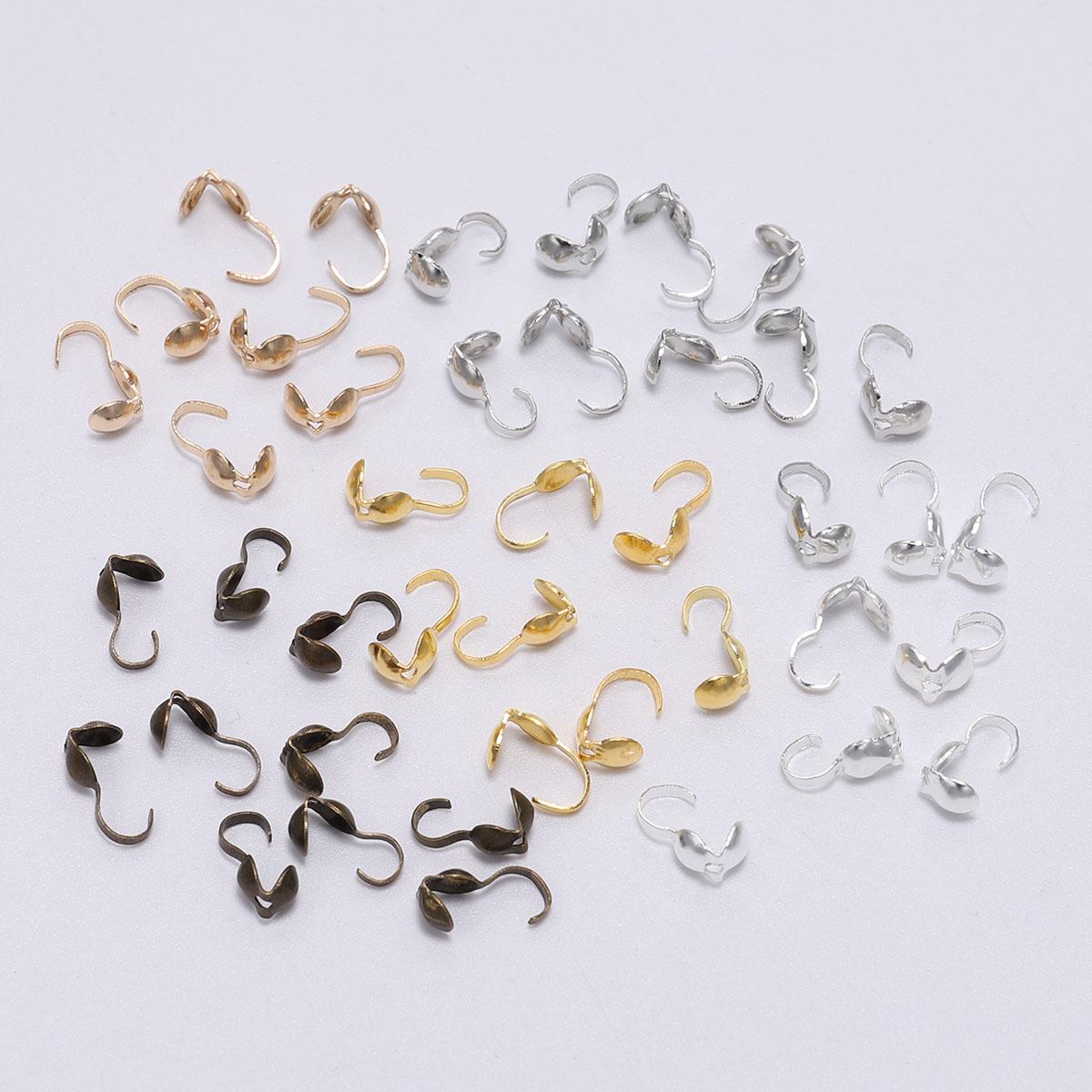 200pcs 4x2.8mm Sliver Metal Cord End Caps Clasps Crimp DIY Jewelry Makings