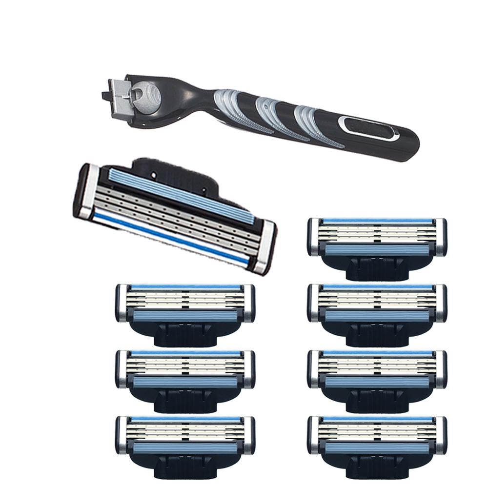 Man Razor Handle & 8PCS Blade Refill for Shaving Razor Epilator