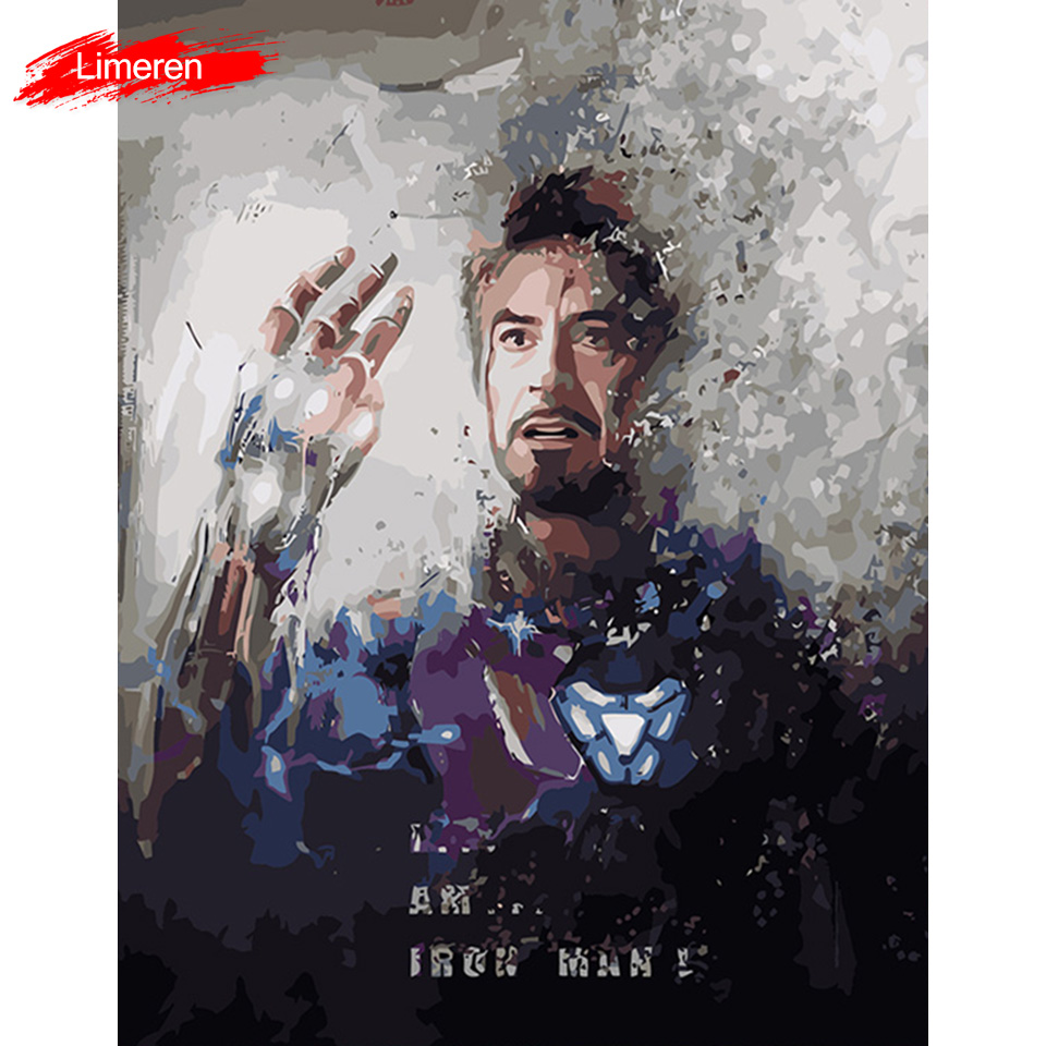 Avengers Endgame I Am Iron ManFrameless Picture Acrylic Paint By Numbers DIY Painting By Numbers Unique Gift Oil Painting
