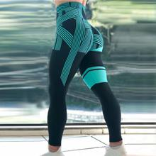 American Style Strip Print Women Sexy Hip High Waist Fitness Gym Workout Leggings Elastic Quick Drying Sweatpants