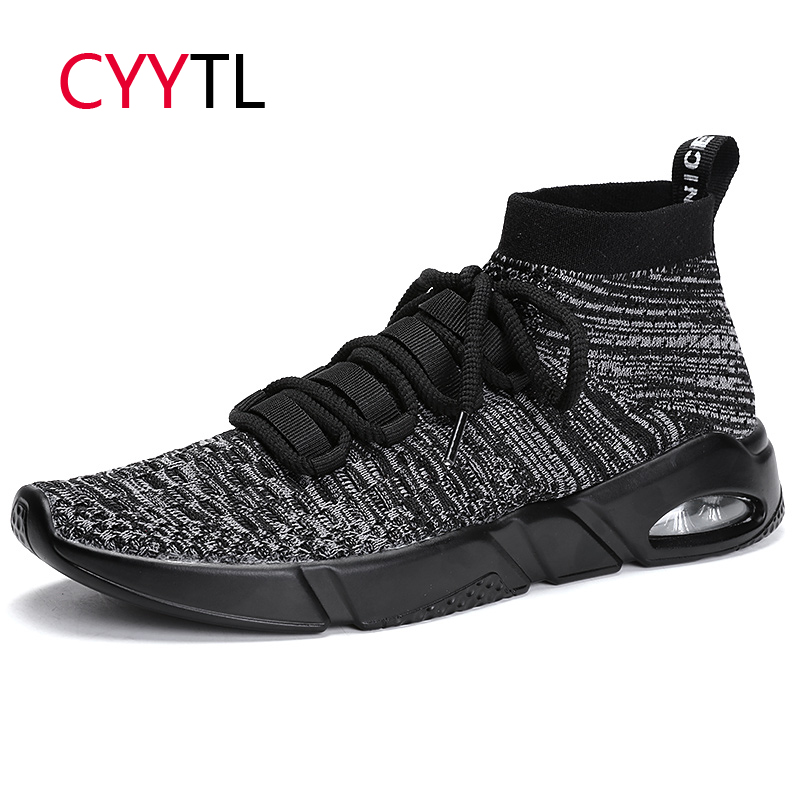 CYYTL Men's Shoes 2019 Fashion Mesh Breathable Walking Sneakers Casual Walking Male High Top Tenis Masculino Zapatillas Hombre