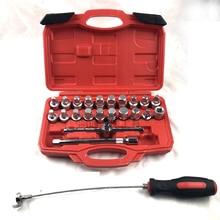 22 pieces oil pan four corner hexagonal oil drain tool oil drain screw set gearbox screw socket wrench