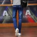 Azul moda calças de Brim Dos Homens Slim Fit Calças Lápis de Corpo Inteiro do Sexo Masculino Calças Masculinas 2017 Homem Roupas Casuais AMP165010