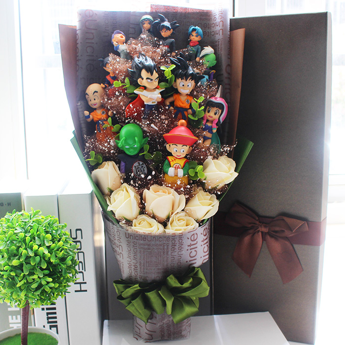 New Arrival Dragon Ball Z Figure Toys Flower Bouquet Piccolo Gohan Goku Chichi Wedding Model For Kid Boy Gift