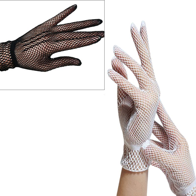 Women Sexy Hollow Out Fishnet Full Fingered Gloves Wrist Length Elastic Sunscreen Mittens Party Costume