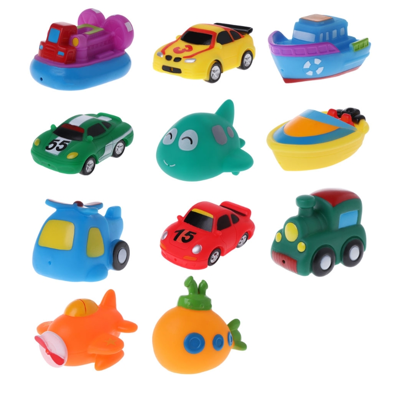 HBB Cool Bath Toy Baby Toys Colorful Car Boat Soft Rubber Toys Swimming Pool Kids Water Spray for Boys Girls 13 pcs mixed animals swimming water toys colorful soft floating rubber duck squeeze sound squeaky bathing toy for baby bath toys