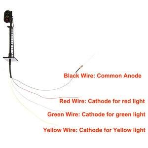 Image 5 - 3 pièces modèle chemin de fer 1: 87 rouge jaune vert bloc Signal de signalisation HO échelle 6.3 cm feu de signalisation poteau noir avec échelle