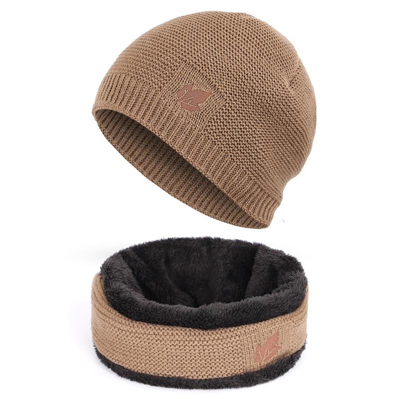 Зимние мужские вязаные шапки, шарф, уличные теплые бархатные унисекс новые модные трендовые брендовые шапки кленовый лист, кожаный Стандартный комплект для мужчин - Цвет: Khaki A
