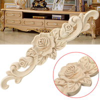 Retro Unpainted Floral Wood Carved Decal Corner Applique Frame For Home Furniture Wall Cabinet Door Decorative Crafts