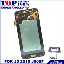 100% Diuji Super AMOLED LCD untuk Samsung Galaxy J5 2015 J500 J500F J500FN J500H J500M Layar Sentuh Display LCD Digitizer 20 Pin(China)
