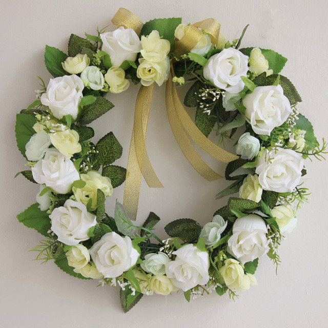 Aliexpress buy white color wedding simulation flower wreath white color wedding simulation flower wreath layout props church lawn wedding christmas garland room door trim mightylinksfo