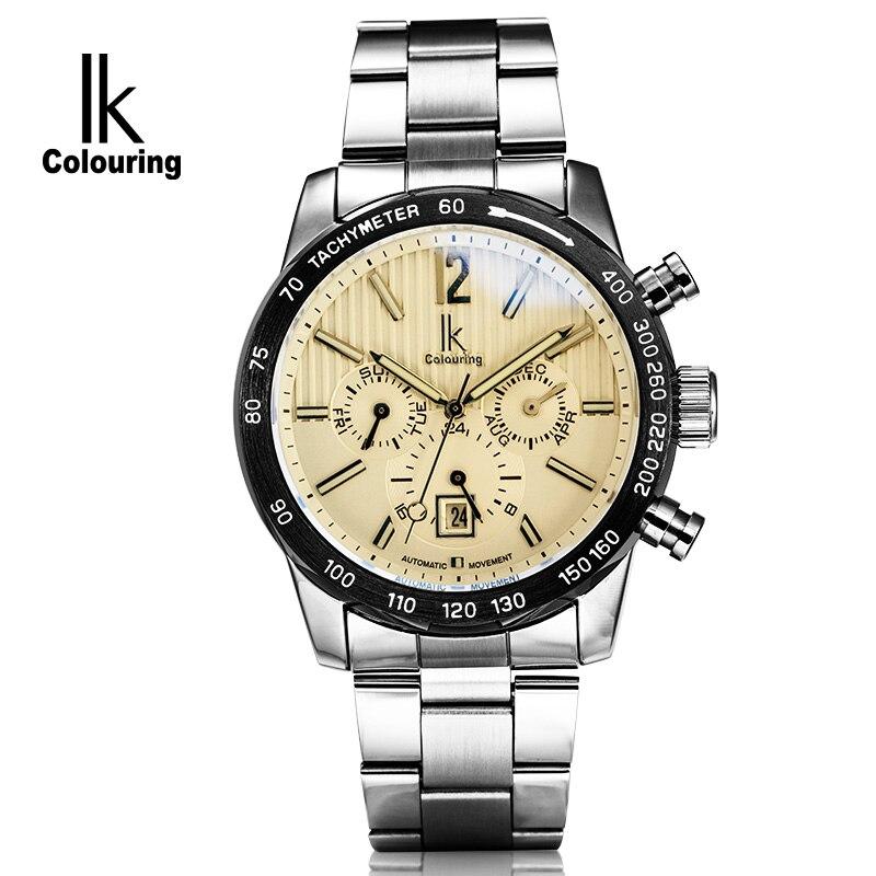 Luxury IK Coloring Luxury Men Sapphire Day/Week/Month Auto Mechanical Waterproof Wristwatch Oringal Box Free Ship