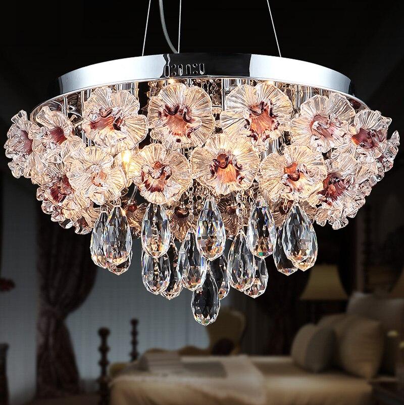 Modern pendant lamp Coloured Glaze Flower Garden Ceiling Lamp Dining Room Rectangular Crystal lamp Led Lamp Pendant Lights